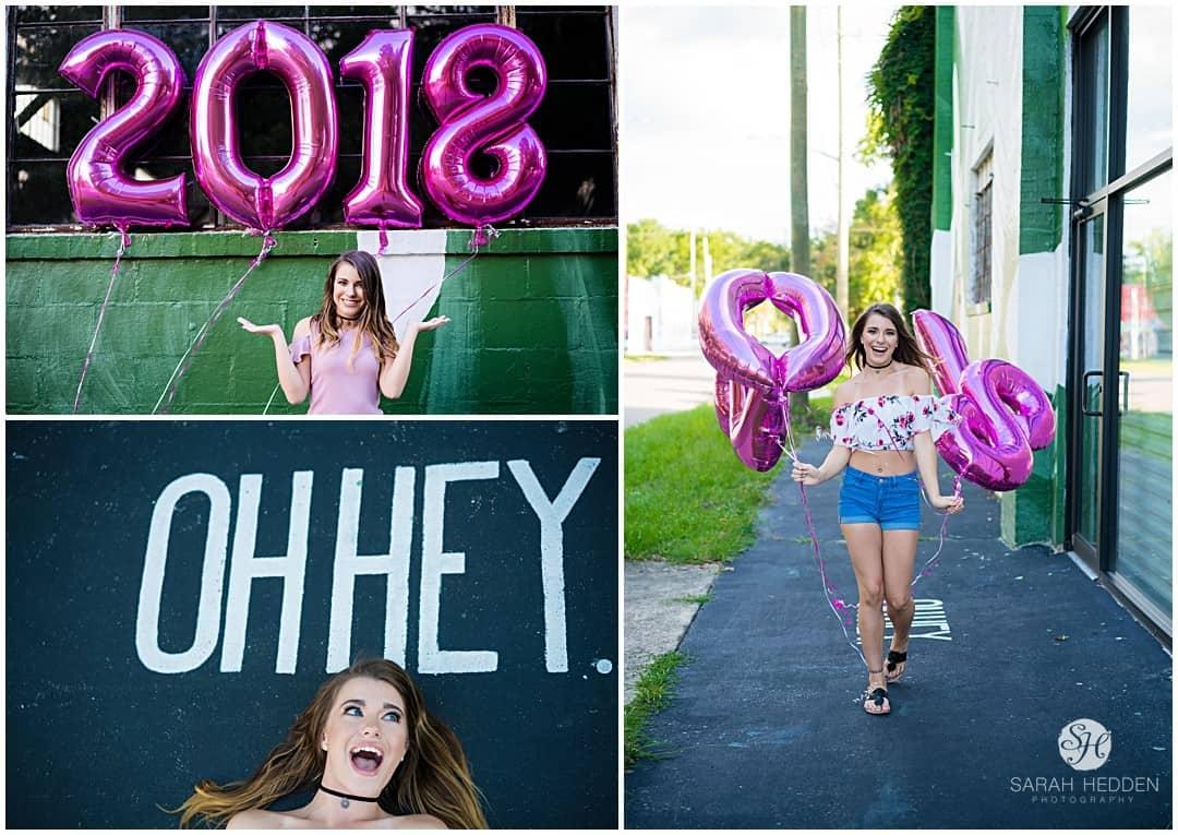 2018 ballon photos during her senior session with her high school Senior Photographer.