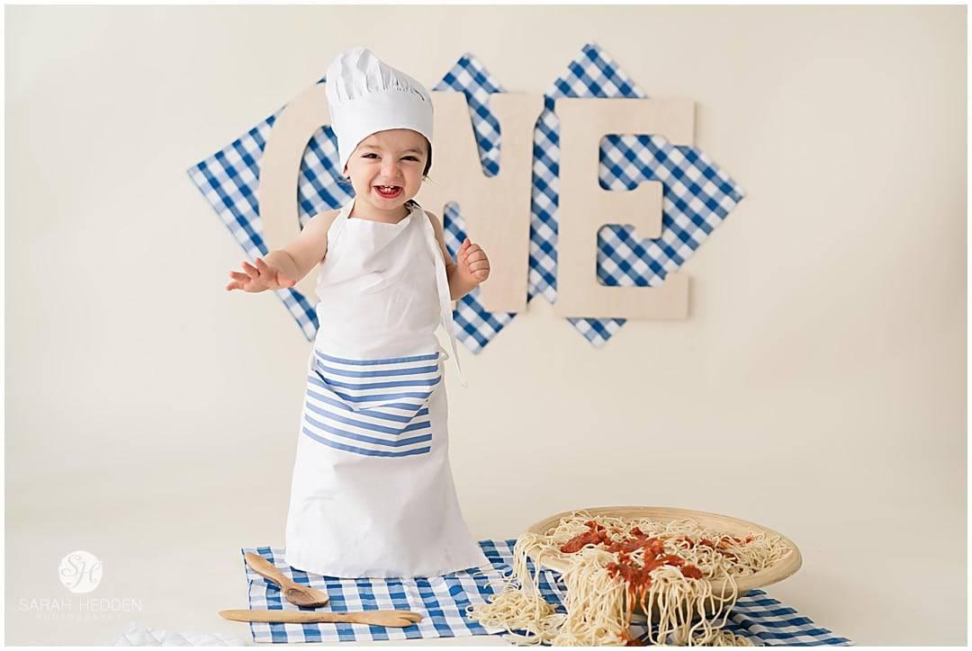 Little chef boy first birthday Spaghetti smash.
