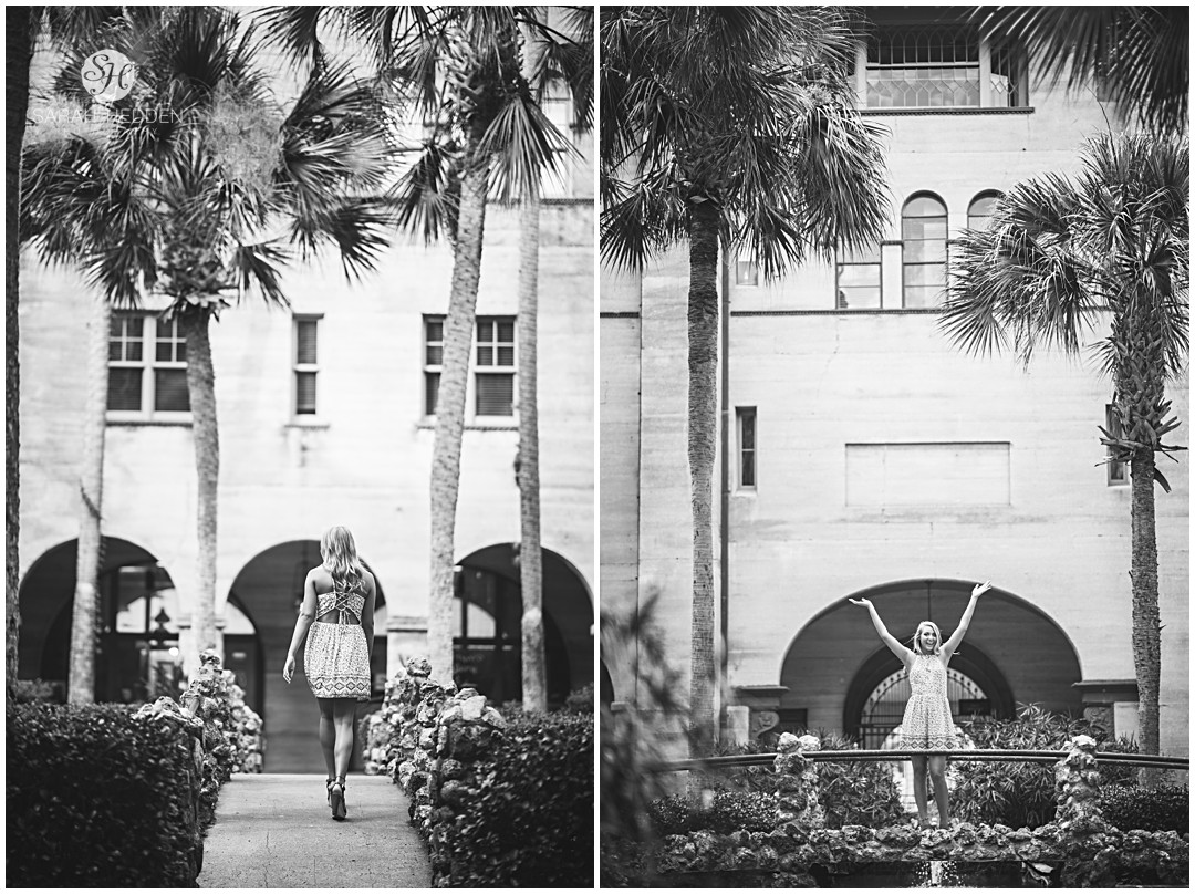 Teenage girl posing for pictures at Flagler College in St Augustine North Florida Senior Photographer