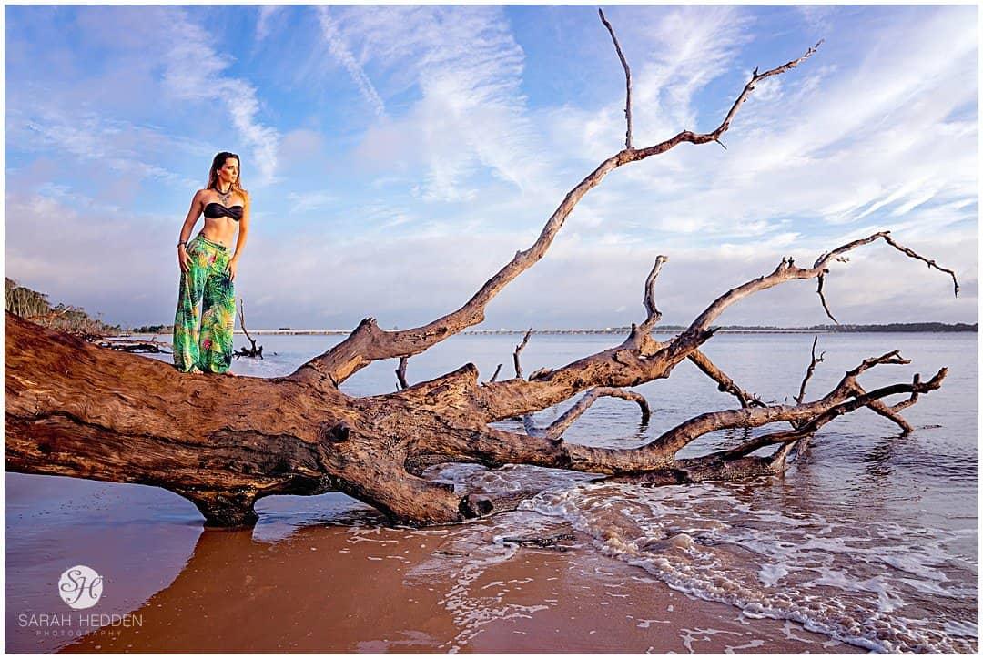 Sunrise driftwood beach Glamorous Photography session.