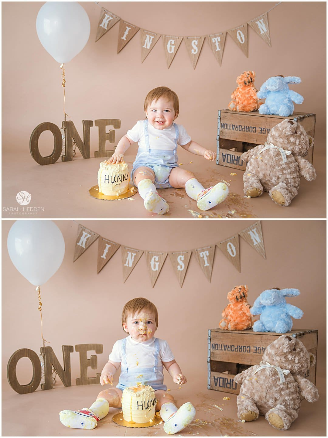 Little boy tapping on his honey pot cake with his pooh bears during his winnie the pooh cake smash.