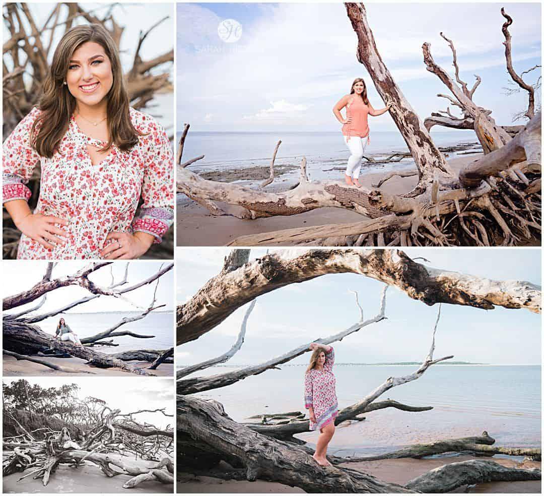 boneyard beach senior session girl poses for her Brunswick senior pictures