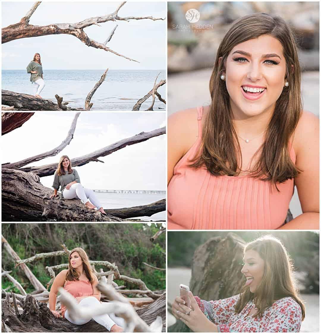Driftwood beach senior session girl poses for her Brunswick senior pictures