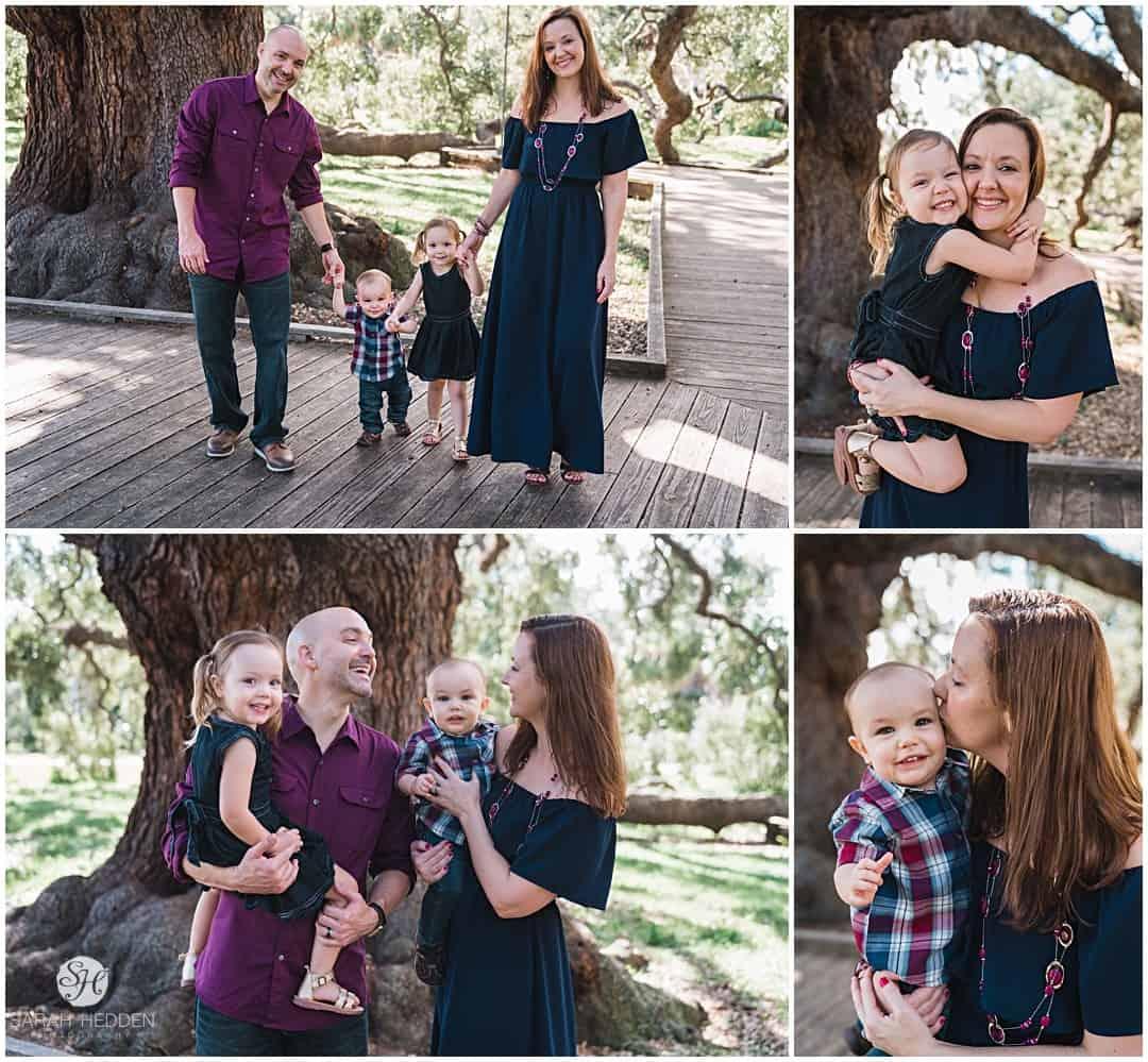 Treaty oak park family photos during evan's cake smash photos.