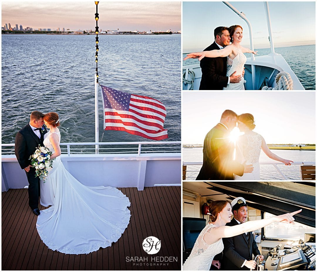 Bride and groom poses on the starship yacht during sunset with the Tampa skyline after their yacht wedding in Tampa.
