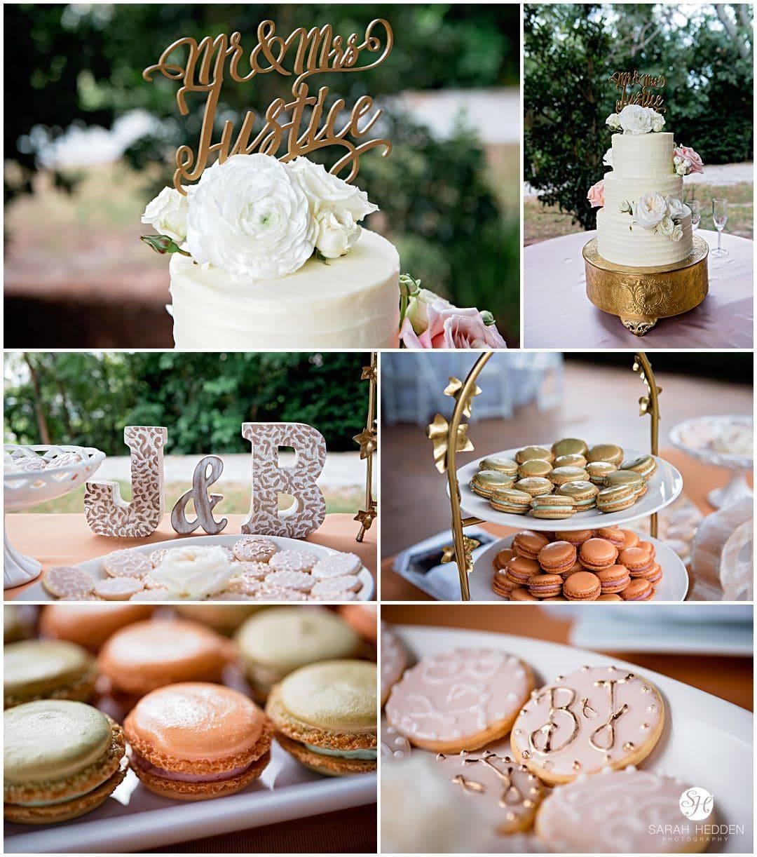 Wedding detail shots of cake and food at Bridgette and Jonathon's Wedding in Charleston