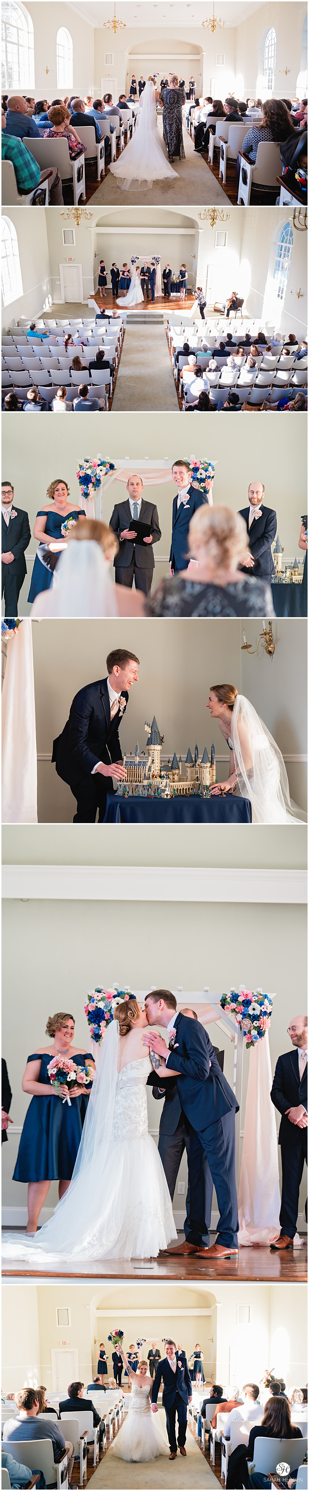 Wedding ceremony with harry potter lego set at Jenna & Stephen's Riverside House Wedding