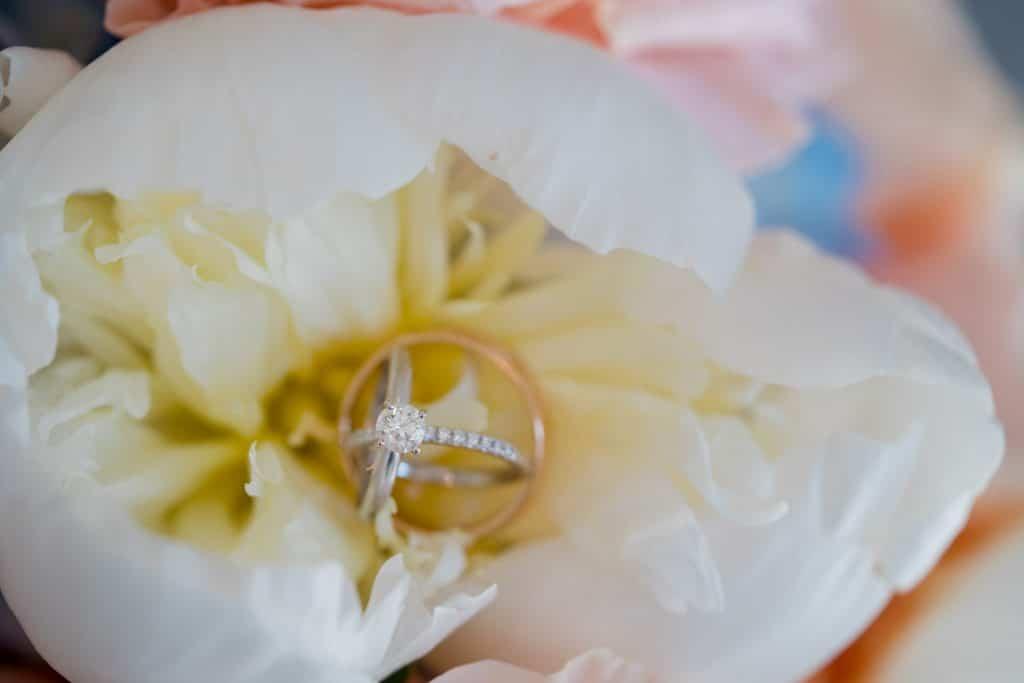 Wedding ring in flower at Tonya and Jon's Washington Oaks State Park Wedding