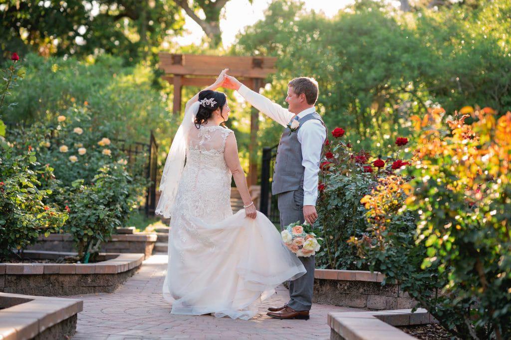 Bride and groom dancing at Tonya and Jon's Washington Oaks State Park Wedding