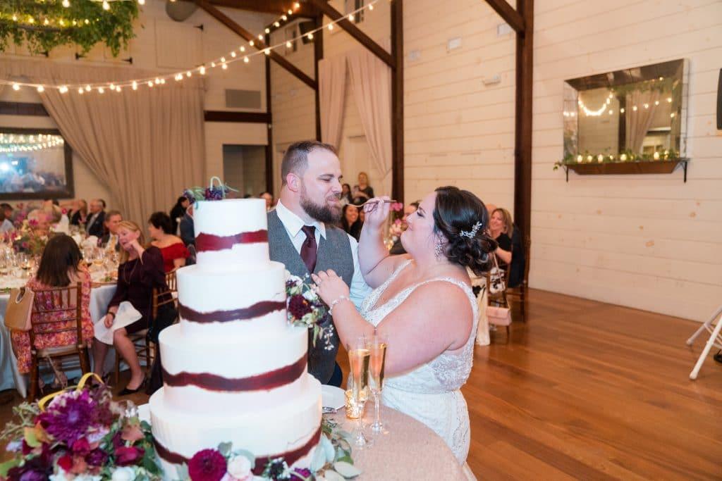 Bride feeding groom cake at Ari and Ryan's Pippin Hill Farms Wedding.