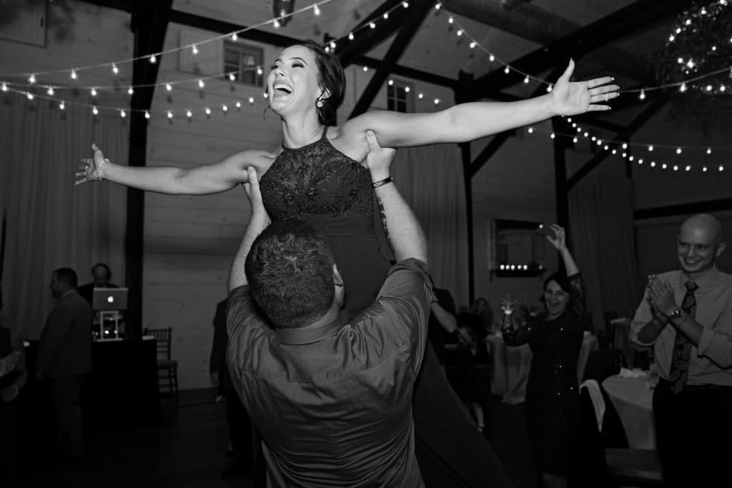 Dirty dancing lift at Ari and Ryan's Pippin Hill Farms Wedding.