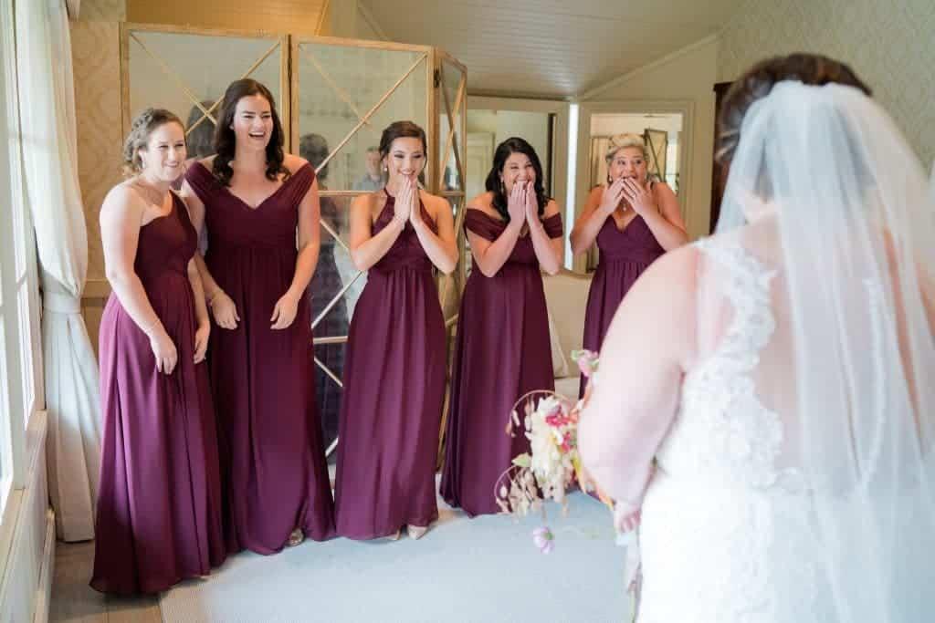 Bridesmaids first look at Ari and Ryan's Pippin Hill Farms Wedding.