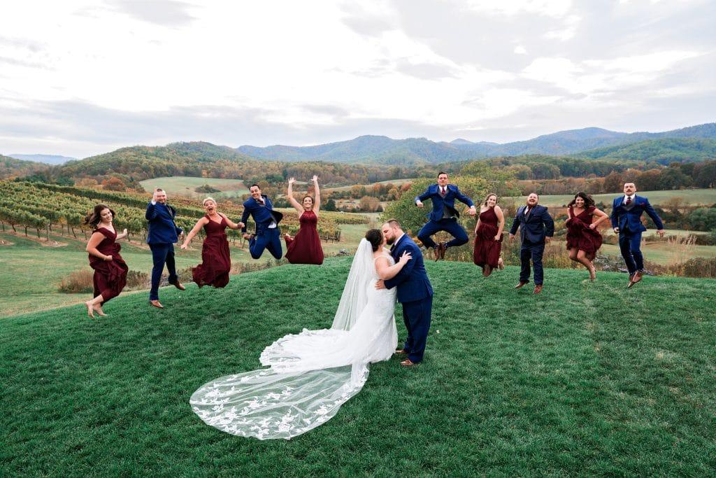 Wedding party jump shot at Ari and Ryan's Pippin Hill Farms Wedding.