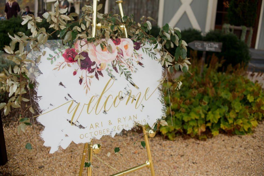 Wedding sign at Ari and Ryan's Pippin Hill Farms Wedding.