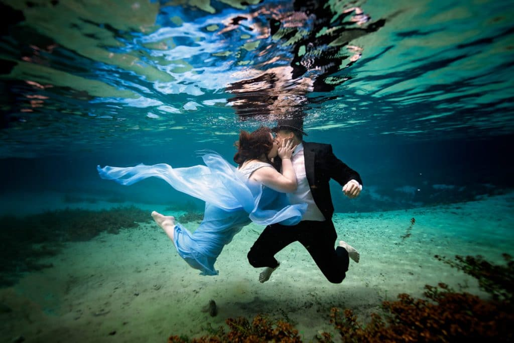 Underwater engagement session with Jacksonville's best Engagement Photographer.