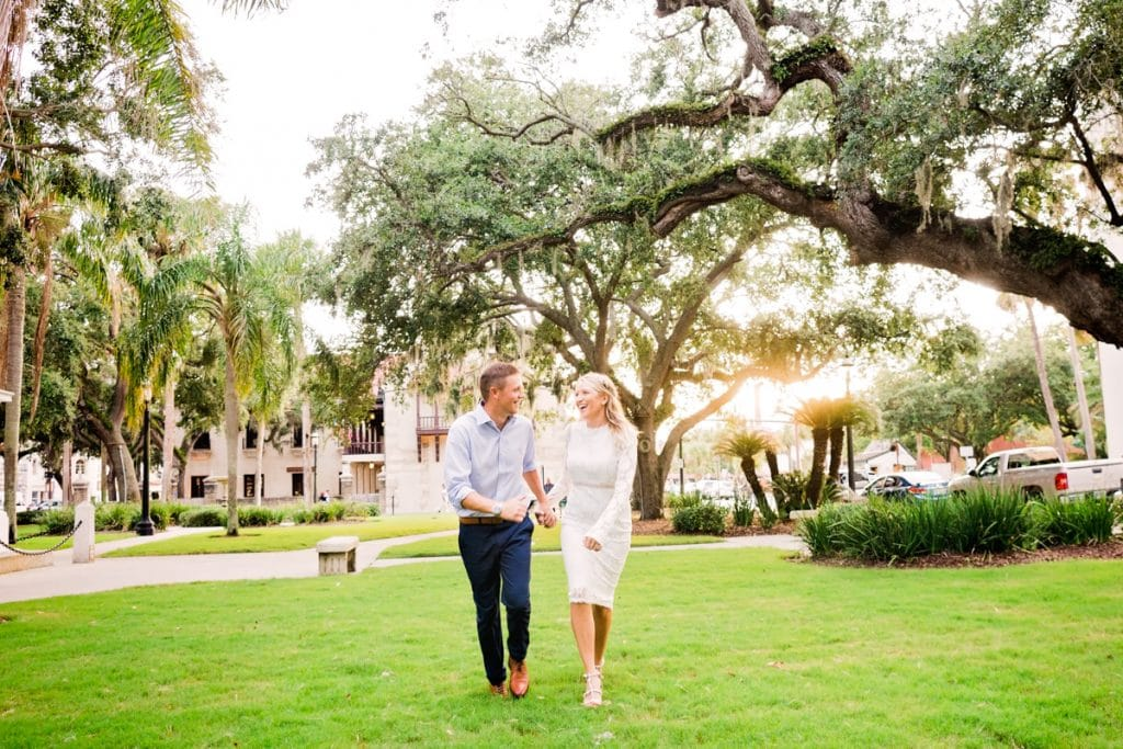 Couple walking in St. Augustine with Jacksonville's best Engagement Photographer.