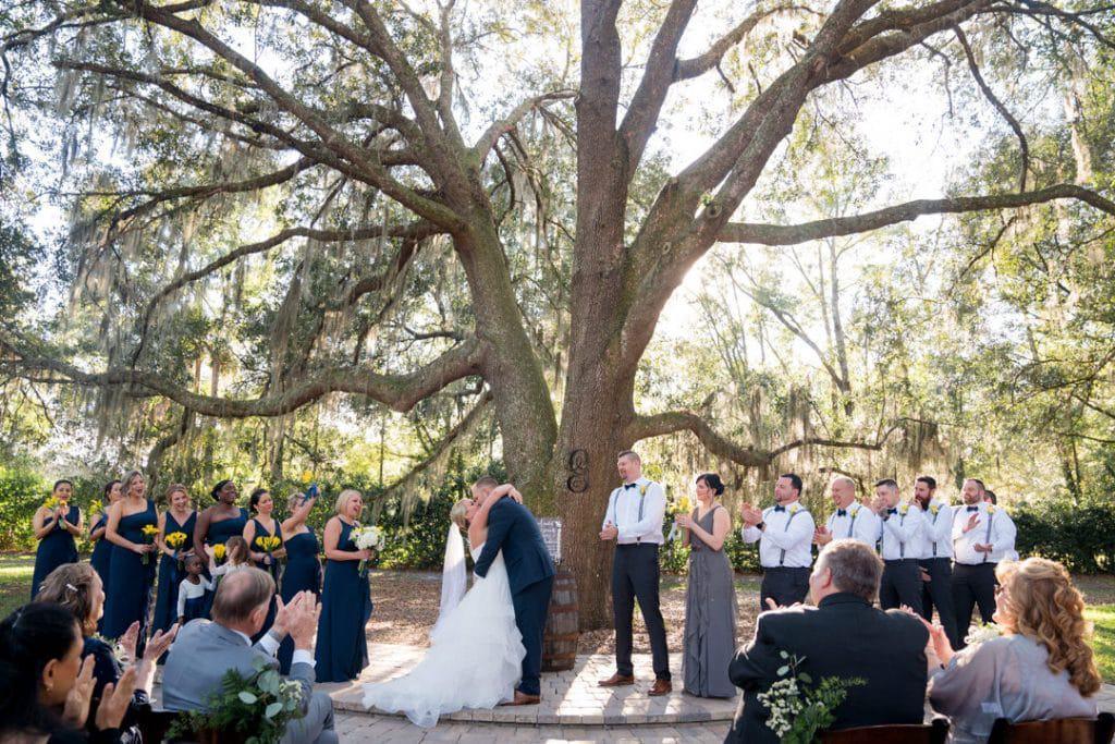 You may kiss the bride at Amber and Garvey's wedding at Bowing Oaks.