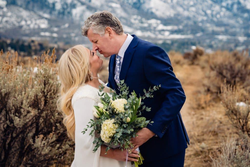 Bride and groom posing at Heather and Jelmer's Utah Wedding
