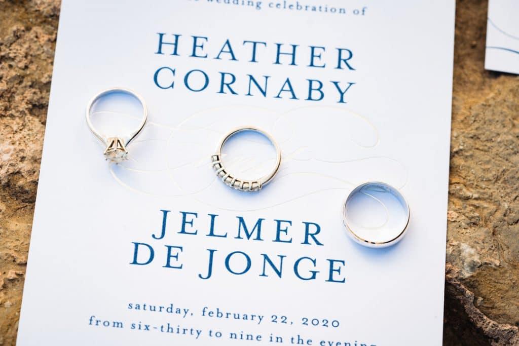 Wedding rings on invitation at Heather and Jelmer's Utah Wedding