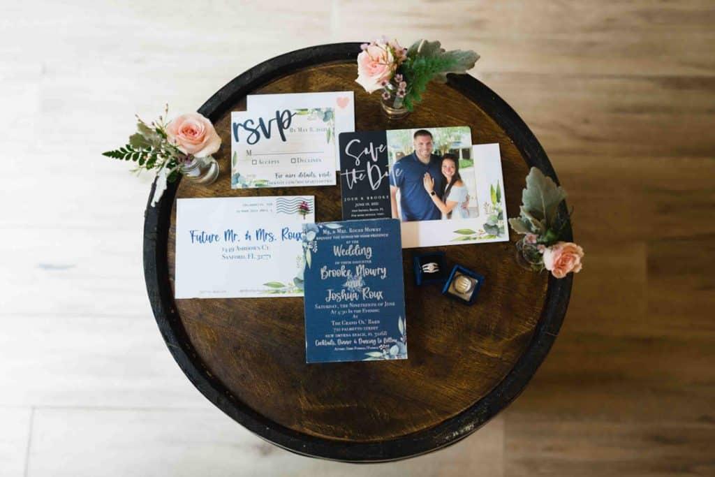 Detail shots of wedding invitation at Brooke and Josh's New Smyrna Beach Wedding